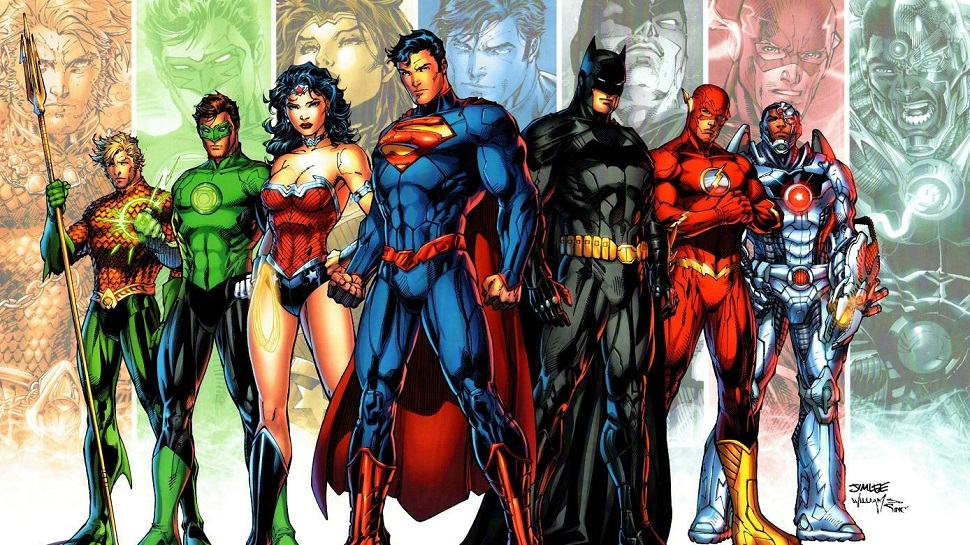 The first rebooted heroes of New 52 (left to right) Aqua Man, Green Lantern, Wonder Woman, Superman, Batman, The Flash, Cyborg