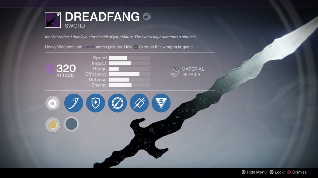 Dreadfang, or that sword you now see everyone using because you get it as a quest item.