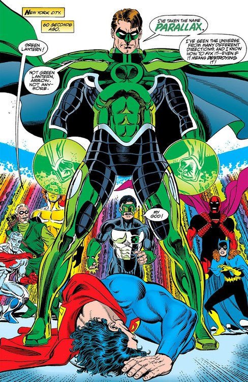 Hal under his new name Parallax defeats Superman and is the villain in this storyline.